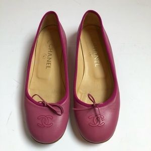 Chanel hot pink ballet bow flat 7 5